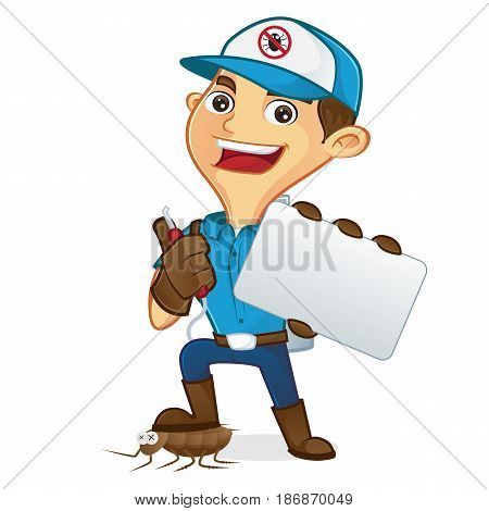 Exterminator Holding Business Card
