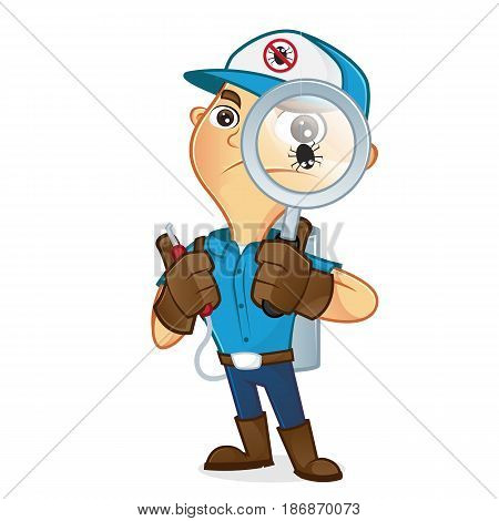Exterminator Holding Magnifying Glass