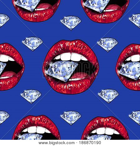Bright lips holding a sparkling brilliant. Seamless pattern. Realistic graphic drawing. Background. Blue color