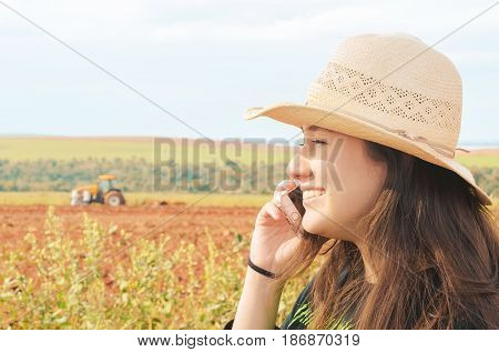 Farm Manager Talking On The Phone