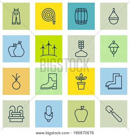 Set Of 16 Planting Icons. Includes Lantern, Fire Tube, Shovel And Other Symbols. Beautiful Design Elements.