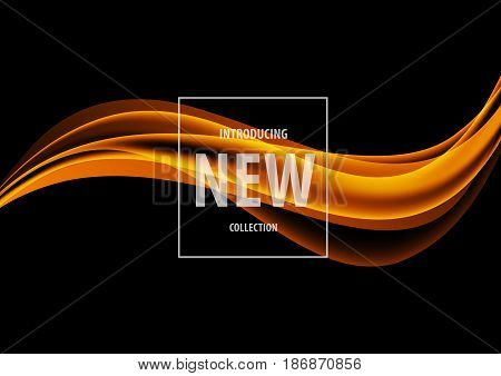 Abstract dynamic art design template with orange elegant wavy lines in soft smooth style on dark background. Vector illustration