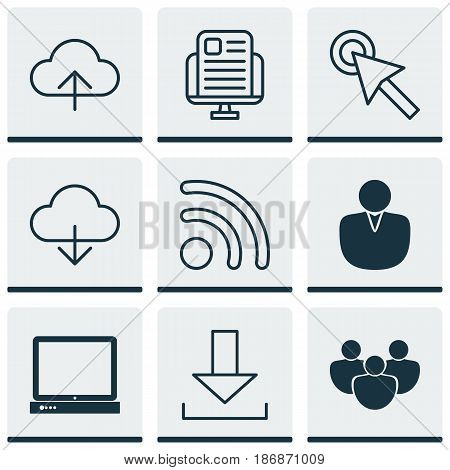 Set Of 9 Web Icons. Includes PC, Cursor Tap, Data Synchronize And Other Symbols. Beautiful Design Elements.