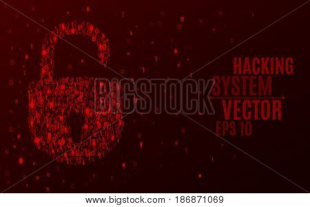 Hacking system. An abstract lock from a binary code. The glowing numbers 0 and 1 are red. Programming in design. Flying figures. Hackers broke the protection. Vector illustration. EPS 10