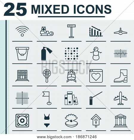 Set Of 25 Universal Editable Icons. Can Be Used For Web, Mobile And App Design. Includes Elements Such As Plane, Seashell, Fail Graph And More.