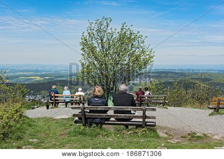 FELDBERG IM TAUNUS, GERMANY-MAY 16, 2017: Tourist view from the summit of the Great Feldberg in the Taunus direction north Hessen, Germany