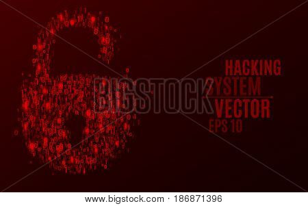 Hacking system. An abstract lock from a binary code. The glowing numbers 0 and 1 are red. Programming in design. Scattered figures. Hackers broke the protection. Vector illustration. EPS 10