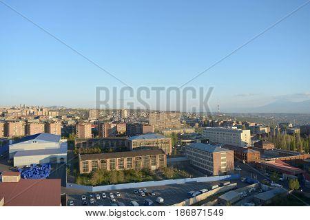 Panoramic city view of Yerevan in Armenia