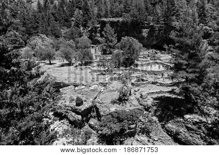 Samaria Gorge. The ruins of an abandoned village. Island of Crete. Greece. Black and white.