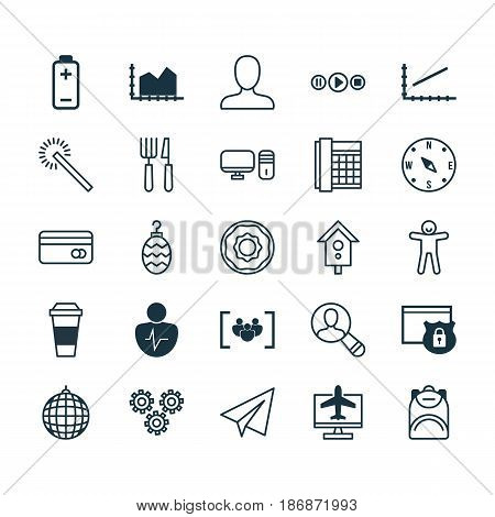 Set Of 25 Universal Editable Icons. Can Be Used For Web, Mobile And App Design. Includes Elements Such As Personal Computer, Sequence Graphics, Work Phone And More.
