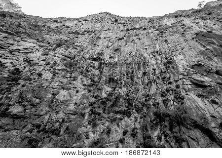 Rocks of Samaria Gorge. Crete. Greece. Black and white.