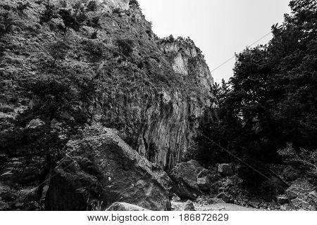 Samaria Gorge. Island of Crete. Greece. Black and white.