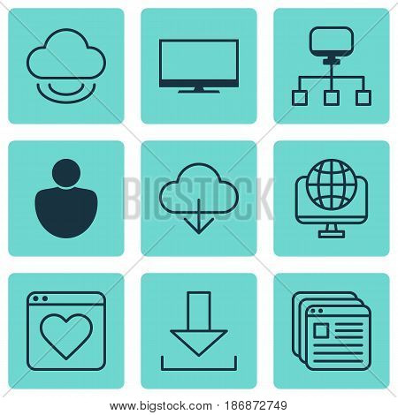 Set Of 9 World Wide Web Icons. Includes Login, Local Connection, Followed Website And Other Symbols. Beautiful Design Elements.