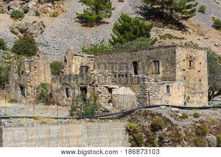 Abandoned buildings in Samaria Gorge. Island of Crete Greece.