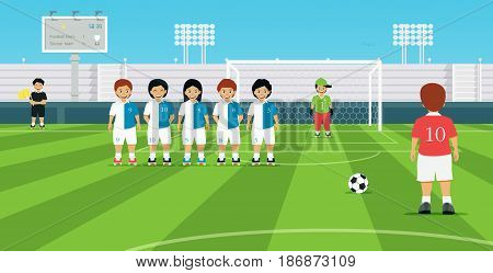 Football free kick kicker with opposing player set up defensive wall.