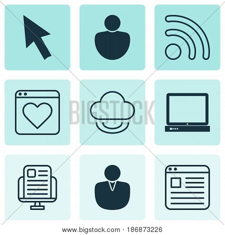 Set Of 9 Internet Icons. Includes Wifi, Virtual Storage, Mouse And Other Symbols. Beautiful Design Elements.