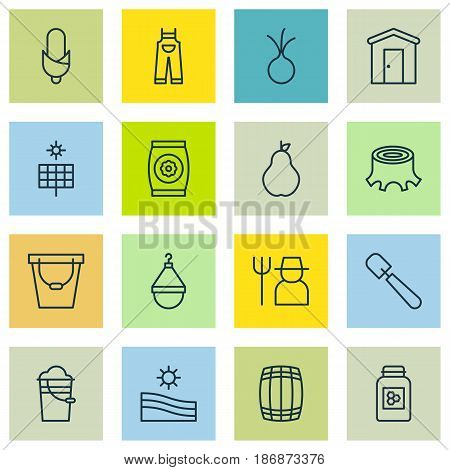 Set Of 16 Farm Icons. Includes Tree Stub, Grower, Hanger And Other Symbols. Beautiful Design Elements.