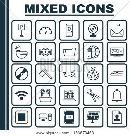 Set Of 25 Universal Editable Icons. Can Be Used For Web, Mobile And App Design. Includes Elements Such As Plane, Significant Letter, Web Camera And More.