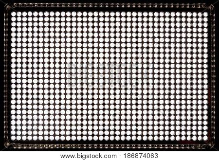 Led panel consisting of 900 white diodes. To create a lighting with variable brightness temperature of 5500 Kelvin. Is battery powered and the network adapter of AC.
