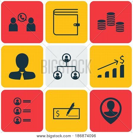 Set Of 9 Hr Icons. Includes Money, Phone Conference, Bank Payment And Other Symbols. Beautiful Design Elements.