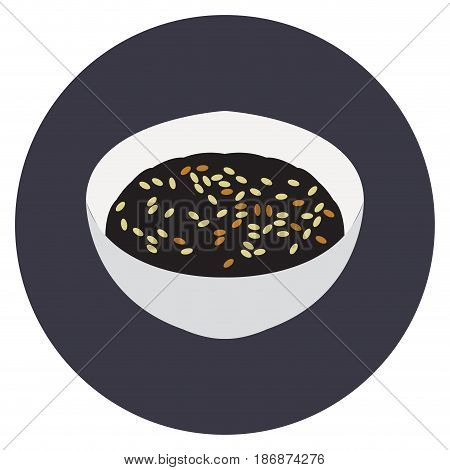 Isolated bowl of ramen on a colored button, Vector illustration