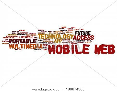 Concept or conceptual mobile web portable multimedia technology abstract word cloud isolated background. Collage of access, future app lifestyle communication, social tool, online services text