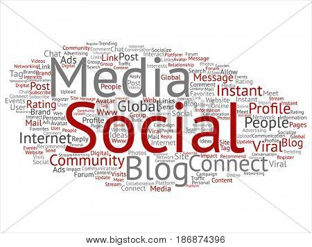 Conceptual social media networking or communication marketing technology abstract word cloud isolated on background. A tagcloud for global community worldwide concept or advertising metaphor