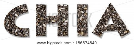 Chia - written in letters made of chia grains