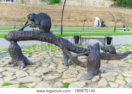 Editorial.Khanty-Mansiysk Yugra Russia August 12 2012 Archeopark Samarovo town The sculptural composition Beavers
