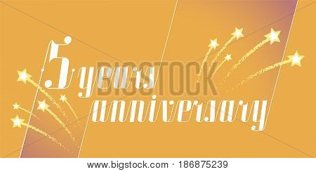 5 years anniversary vector icon logo. Graphic design element or banner for 5th anniversary