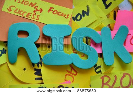 word risk on a  abstract colorful backgrounbd
