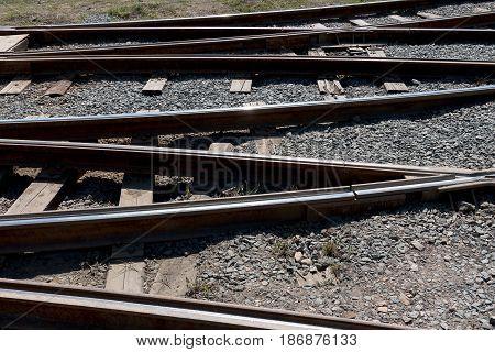 Crossing railway tracks rails and sleepers a