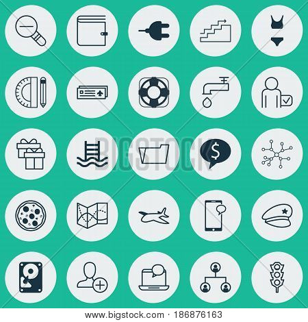 Set Of 25 Universal Editable Icons. Can Be Used For Web, Mobile And App Design. Includes Elements Such As Mail Notification, Hdd, Business Deal And More.