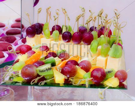 Fruits and desserts on the Banquet table. Buffet. Catering.