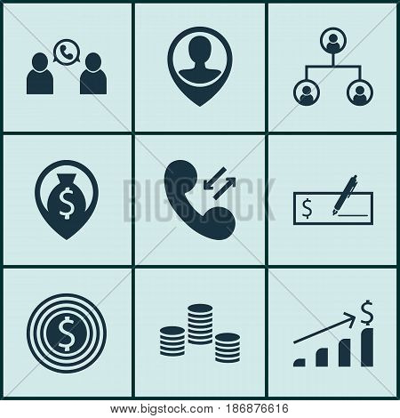 Set Of 9 Management Icons. Includes Business Goal, Money Navigation, Successful Investment And Other Symbols. Beautiful Design Elements.
