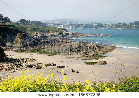Estuary of Ribadeo with the bridge between Galicia and Asturias and beaches between rocks