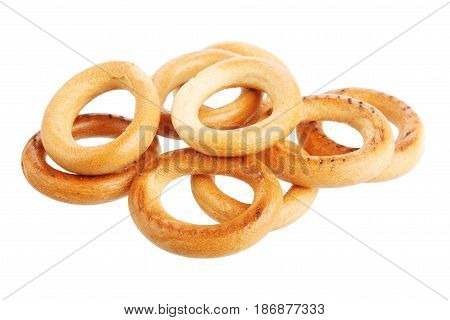 Pile of delicious donuts isolated on white background