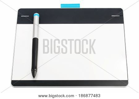 Digital graphic tablet and pen isolated on white background