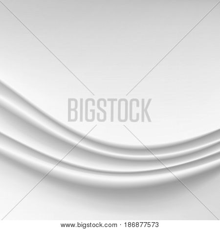 Wavy Silk Abstract Background Vector. Realistic Fabric Silk Texture
