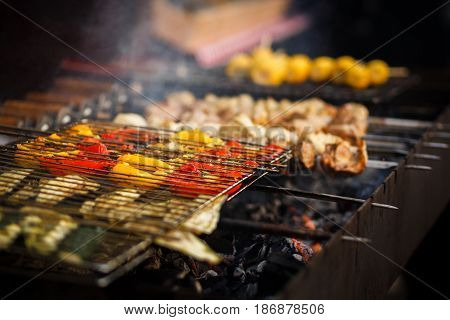 Delicious Vegetables Grilling On Open Grill, Outdoor Kitchen. Food Festival In City. Tasty Food Pepp