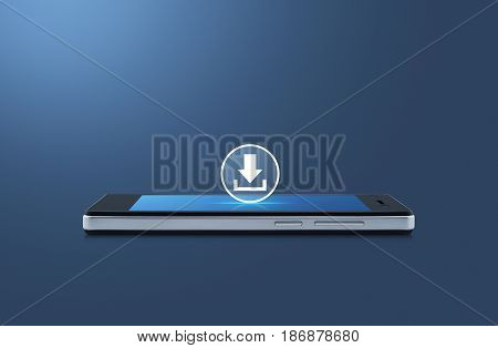Download icon on modern smart phone screen over gradient blue background Business internet concept