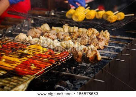 Delicious Vegetables  And Meat Grilling On Open Grill, Outdoor Kitchen. Food Festival In City. Tasty