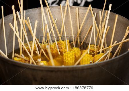 Delicious Vegetables Grilling On Open Grill, Outdoor Kitchen. Making Roasted Corn. Food Festival In