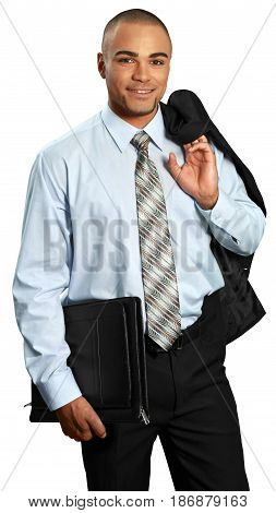 Man businessman suit jacket male friendly organizer isolated