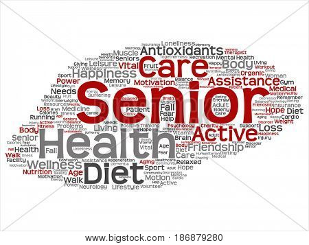 Concept conceptual old senior health, care or elderly people treatment abstract word cloud isolated background. A collage of healthcare, illness, medicine assistance, help, active or happy text