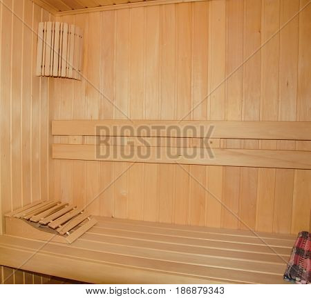Steam baths saunas, finish in light natural wood