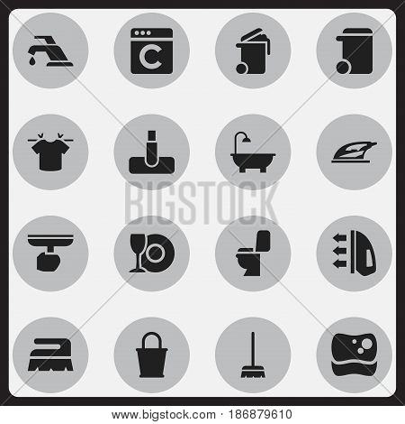 Set Of 16 Editable Cleanup Icons. Includes Symbols Such As Laundress, Steam, Container And More. Can Be Used For Web, Mobile, UI And Infographic Design.