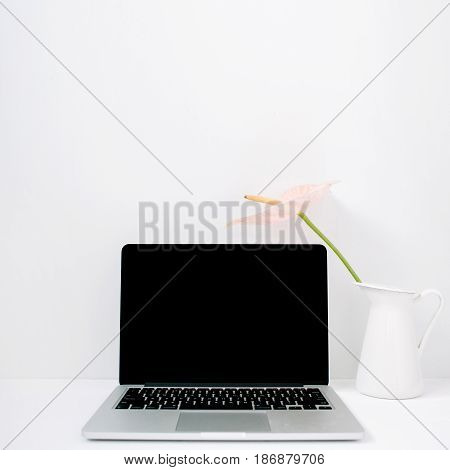 Laptop and pale pink anthurium flower in white watering can near white background. Front view. Floral background