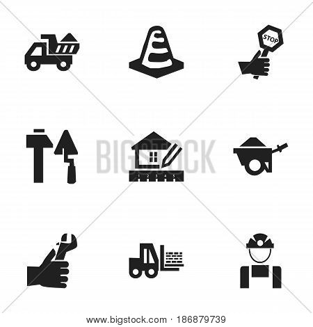 Set Of 9 Editable Construction Icons. Includes Symbols Such As Camion, Trolley, Notice Object And More. Can Be Used For Web, Mobile, UI And Infographic Design.