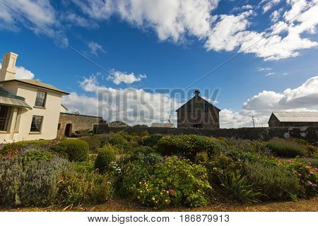 TASMANIA, AUSTRALIA - APRIL 16, 2017: Flower Garden at Historic Highfield House in Stanley, Tasmania Australia on April 16, 2017. It was built for Van Diemen's Land company by convicts between 1832-35